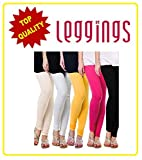 Combo of-5 Ultra Soft Cotton/Lycra Churidar Basic Solid Regular and Plus 30 types of pair Best Seller Leggings for Womens and Girl- Free Sizes Fit to waist between 26 Inch-34 Inch, SKIN-WHITE-YELLOW-PINK-BLACK