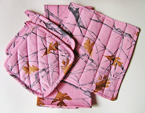 Pink-Camo-Kitchen-Linens-Set-5-Items-Total