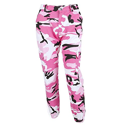Pantaloni Sciolto Casuale A vita Rosa Donna Jogging Sport Motivo Yoga juqilu Pilates Camuffare alta per Fitness Pantaloni per e C8qCzt