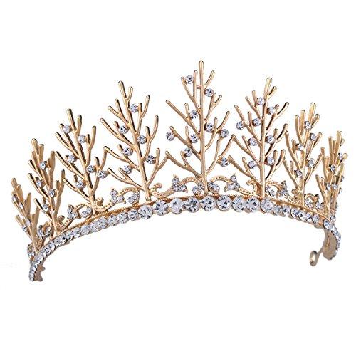 FUMUD Vintage Wedding Bridal Rhinestone pearl Gold Headband Crown Tiara Hair Accessories