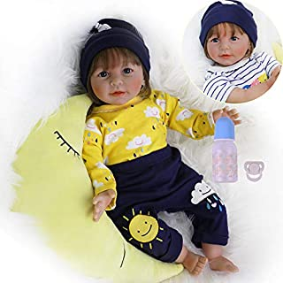 CHAREX Realistic Reborn Baby Dolls for Boys, Lifelike Silicone Weighted Baby Dolls, 22 Inch Handmade Newborn Baby Dolls with New Moon Toys for Kids Age 3+
