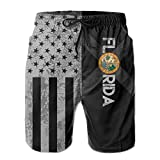 SARA NELL Mens Vintage American Florida Flag Breathable Beach Board Shorts Swim Trunks Quick Dry
