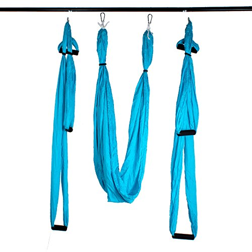 Agptek Aerial Yoga Supplies Swing Inversion Trapeze Series Yoga Class Accessories Like Yoga Straps and Sling Hammock (Blue)
