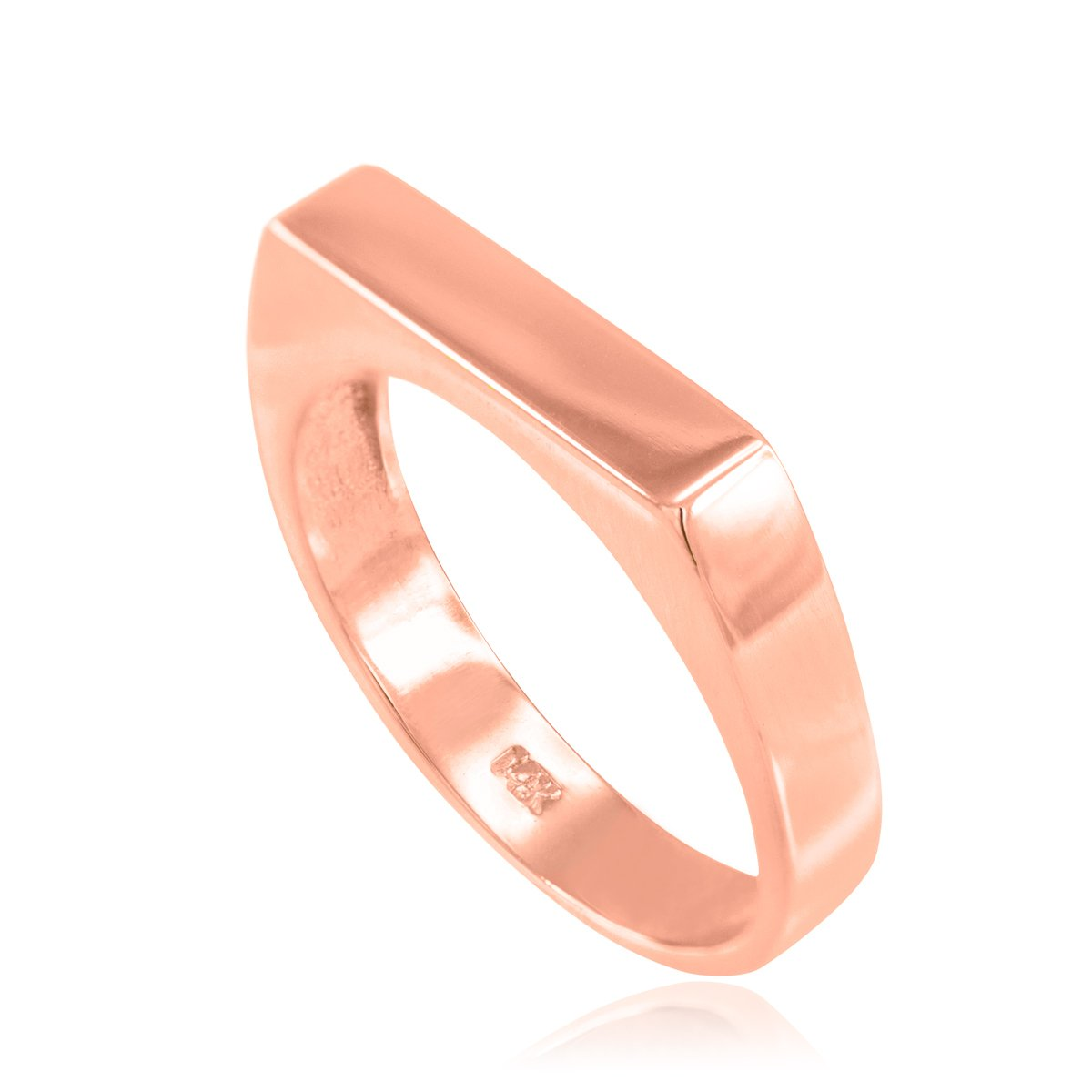 Stackable 14k Rose Gold Custom Engravable Flat Top Signet Ring (Size 9.75)