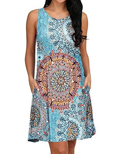 Ladies Summer Casual Print T Shirt Dress Lounge Beach Floral Tank Dress Cute Pocket L - Lounge Dress Womens