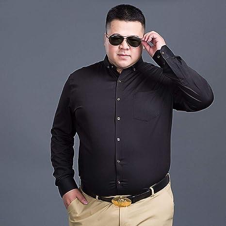 WYTX Camisas Otoño E Invierno Más Gordo Más Talla Más Terciopelo Camisa De Negocios De Manga Larga para Hombres Cuello Cuadrado Grande Camisa De Color Sólido Base Gruesa: Amazon.es: Deportes y aire