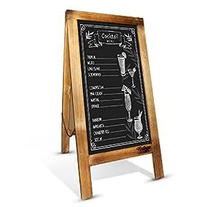 Rustic Chalkboard Handcrafted 100cm x 50cm Wooden A-Frame Sign / Double-Sided Vintage Blackboard Easel / Large Sturdy Restaurant Message Board / Magnetic Sandwich Board / Vintage Wedding decoration (Antique wood)