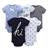 Newborn Infant Baby Girl Boy Cotton Print Short Sleeve Romper Playsuit Jumpsuit 5Pcs Outfit Set 0-24 Months (Multicolor, 6-12 Months)