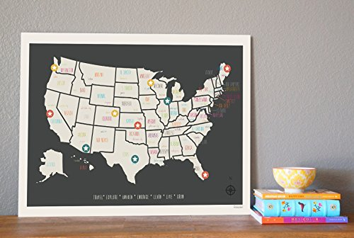 United States Map Wall Decor.Amazon Com Usa Travel Map Wall Art Print Personalized Travel Map