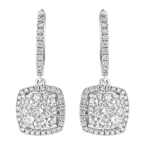 (Olivia Paris 14k White Gold Pave Diamond Cushion Drop Square Earrings (1.35 Carats ctw, H-I, SI2-I1))