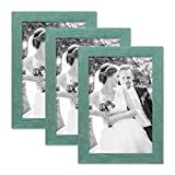 PHOTOLINI Set of 3 Picture Frames with Dimensions of 8 x 10 Inch, Beach-House Style, Rustic, Blue, Natural Solid Wood with Acrylic Glass Insert