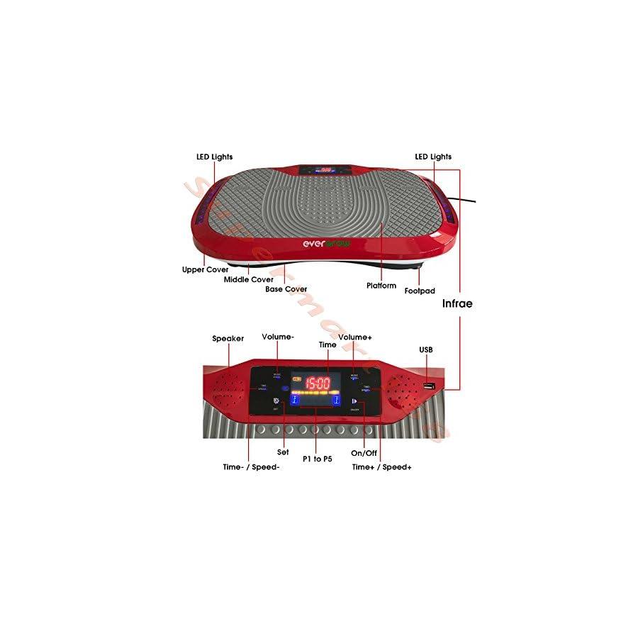 EVERGROW Red Whole Body Vibration Plate Bluetooth Aerobic Fitness Healthful Machine