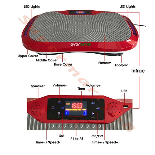 Red Whole Body Vibration Plate bluetooth Aerobic Fitness Healthful Machine