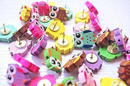 50 PCS Owl Design Push pins Drawing Pin,Creative Pushpins/Thumbtacks Decorative for School Home & Office, Assorted Colors Photo #4