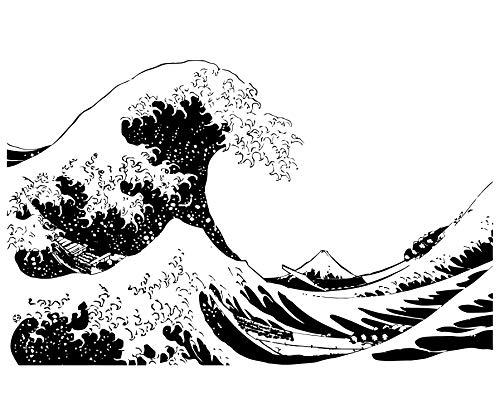 Stickerbrand Asian Décor Vinyl Wall Art Japanese Hokusai Great Wave Wall Decal Sticker - Black, 65
