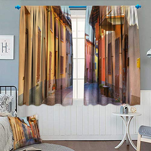 Chaneyhouse Italy Window Curtain Fabric Narrow Paves Street Among Old Houses in Town Serralunga DAlba Piedmont Drapes for Living Room 72