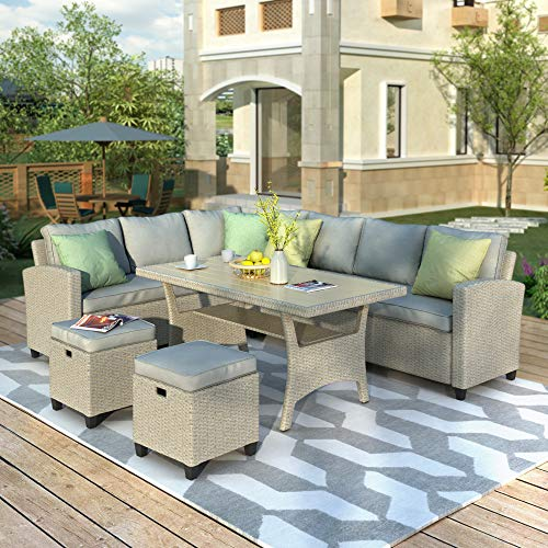 Merax Patio Dining Sets, 5 Piece Outdoor Conversation Set All Weather Brown Wicker Rattan Sectional Sofa Dining Table Chairs Set with 2 Ottoman (Beige Cushion)