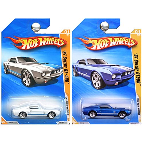 Hot Wheels 2010 New Models Ford Mustang 1967 Shelby GT500 GT-500 in Blue and White SET OF 2 ()