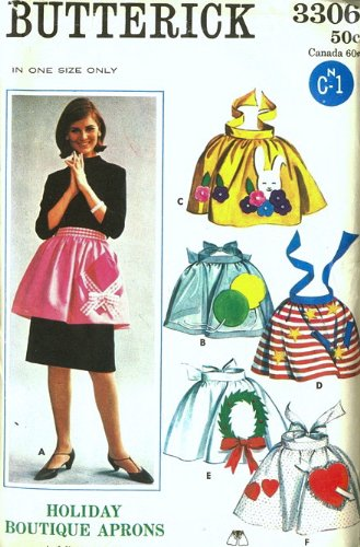 (Butterick 3306 Holiday Apron Pattern Boutique Applique, One Size Christmas, Easter, Valentine, 4th of July)