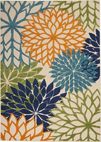 "Nourison Aloha Indoor/Outdoor Floral Blue Multicolor 5'3"" x 7'5"" Area Rug (5'x8')"