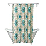 Oversized Shower Curtain Zenna Home, India Ink Number 9 Floral Shower Curtain, Aqua