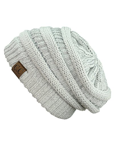 Skull Postage - C.C Trendy Warm Chunky Soft Stretch Cable Knit Beanie Skully, Ivory/Met. Silver