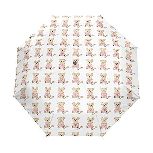 Koala With Heart And Key Wind Proof Travel Umbrella Compact Automati Umbrella