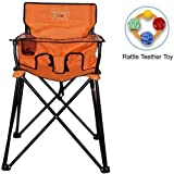 ciao baby - Portable High Chair with Rattle Teether Toy - Orange