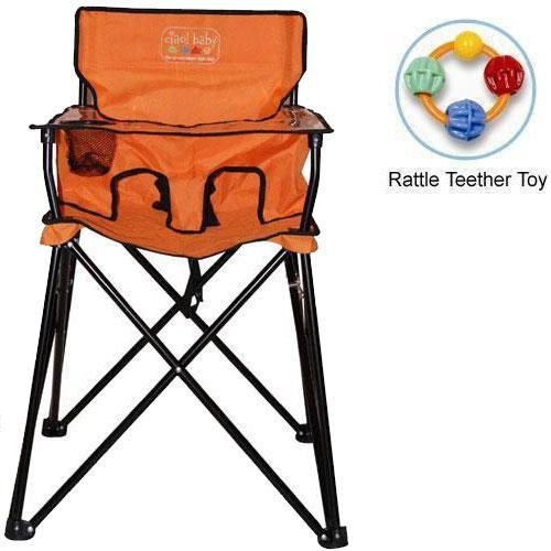 ciao baby - Portable High Chair with Rattle Teether Toy - Orange by ciao! baby