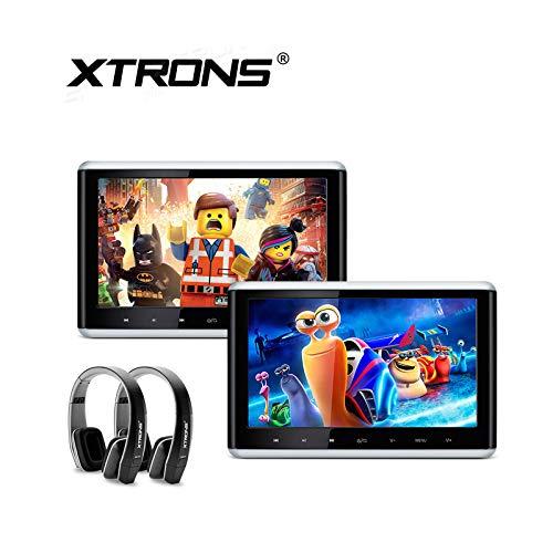 XTRONS 2 x 10.2 Inch Pair HD Digital TFT Screen HDMI Video Car Active Headrest DVD Player New Version Black IR Headphones