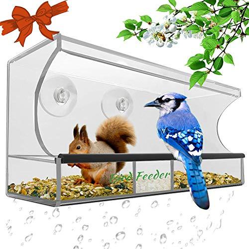 Window Bird Feeder,Bird House Crystal Clear Acrylic with Removable Tray, Drain...