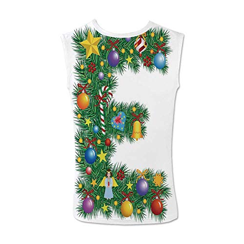 Letter E Comfortable Tank Top,Seasonal Holiday Candy Cane Big Star Praying Angel Capitalized Letter E Alphabet Decorative for Men,M