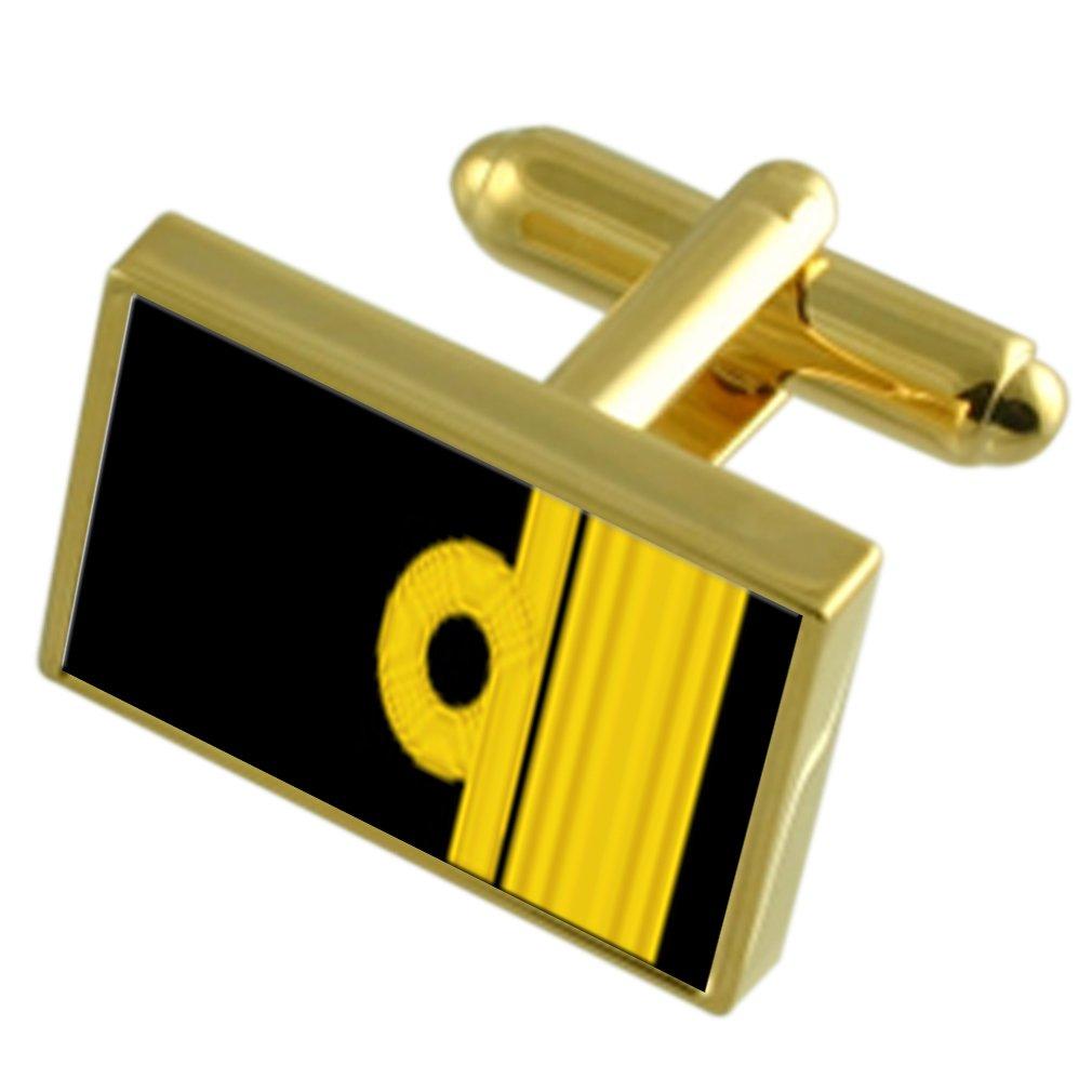 Royal Navy Insignia Rank Rear Admiral Gole-tone Cufflinks Tie Clip Box Set Engraved Optional