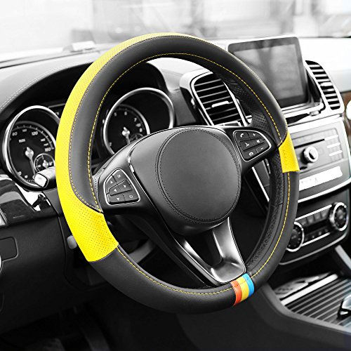 W Yellow Full Spectrum Leather Steering Wheel Cover ()