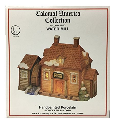 1989 Colonial America Collection Hand Painted Illuminated Porcelain Marlow's Water Mill - Hard to Find Vintage Christmas Collectible