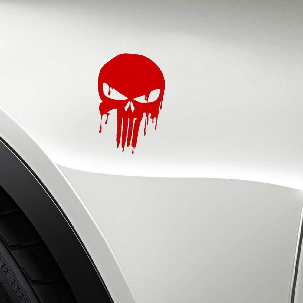 Mikolot Etiqueta autoadhesiva 15x10.1cm Bloody Punisher Skull Reflectante Motocicleta calcoman/ía Rojo