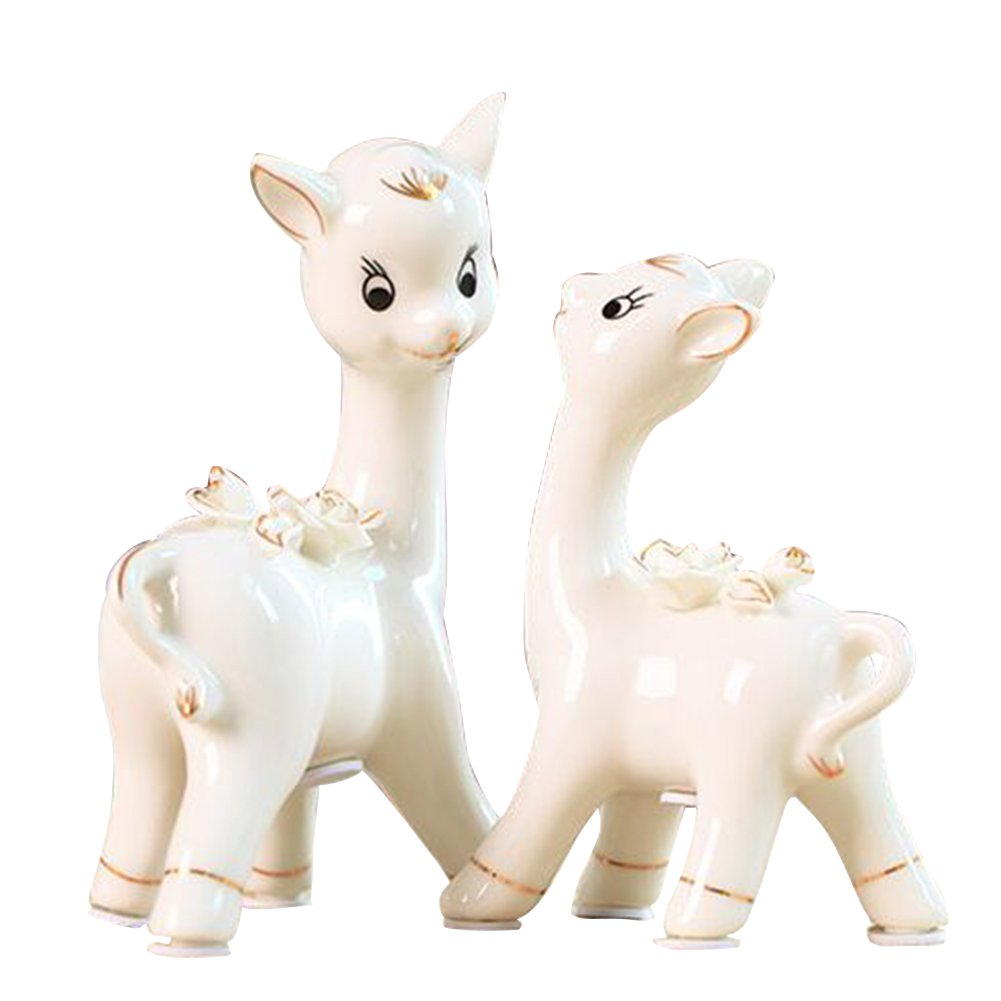 Animal Ornament Porcelain Decoration Deer ceramic crafts Artificial flowers creative home Originality furnishings Gift family of three The Lovers deer (outline in gold - Lovers deer)