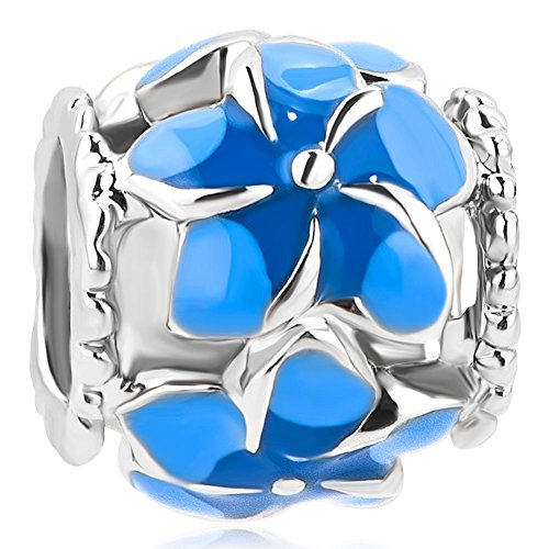 (CharmSStory Filigree Orchid Flower Love Enamel Charm Beads Charms for Bracelets (Blue))