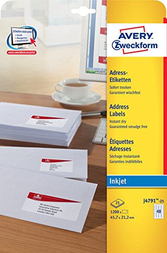 Avery Zweckform J4791Paper Matt Address Labels 45.7x 21.2mm 25Sheets White Pack of 1200 ()