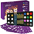 Glokers Face Paint Set | Face painting Kit Contains Cake Paints, Crayons, Paint Brushes, Glitter, Sponges and Stencils | Sensitive Skin Face and Body Paint | Suitable for Adults and Children | FDA app