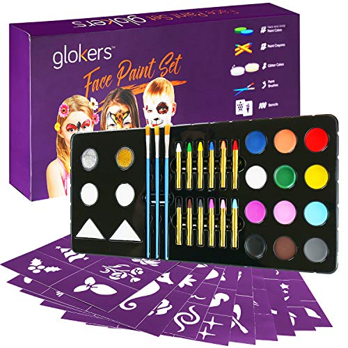 Glokers Face Paint Set | Face painting Kit Contains Cake Paints, Crayons, Paint Brushes, Glitter, Sponges and Stencils | Sensitive Skin Face and Body Paint | Suitable for Adults and Children | FDA app ()