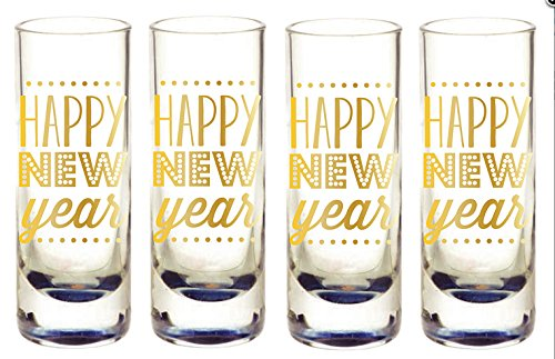 Happy New Years Shot Glass Set of 4 - 2 oz each with Gold Metallic Print
