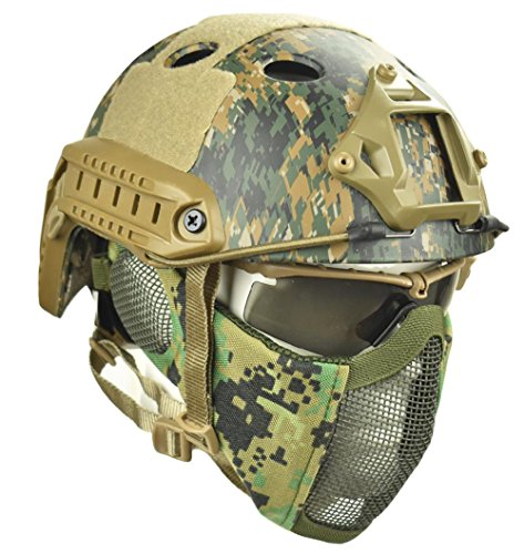 - Jadedragon PJ Tactical Fast Helmet & Protect Ear Foldable Double Straps Half Face Mesh Mask & Goggle (Digital Jungle)
