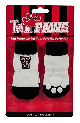 Red Raider Mascot Costume (Texas Tech NCAA Licensed Dog Socks - 4 Dog Boots with Team Logo & Colors (Medium))
