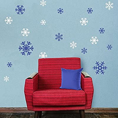My Wonderful Walls - Blue and White Snowflake Decal Sticker Variety Pack - Winter Holiday Decor
