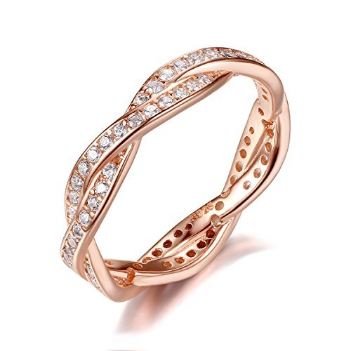 BAMOER Rose Gold Plated Eternity Promise Rings Wedding Jewelry 925 Sterling Silver with CZ,Size 9