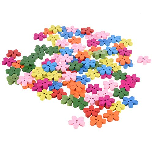 Buttons, 100pcs Colorful Flower Flatback Button Stitched Craft Wooden Button Sewing Craft Scrapbook Suitable for DIY Crafts Kids Handmade Button Painting ()