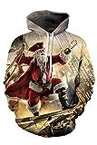 Kisscy Unisex 3d Printed Reindeer Snowflake Pouch Pocket Ugly Christmas Sweatshirt Hoodies