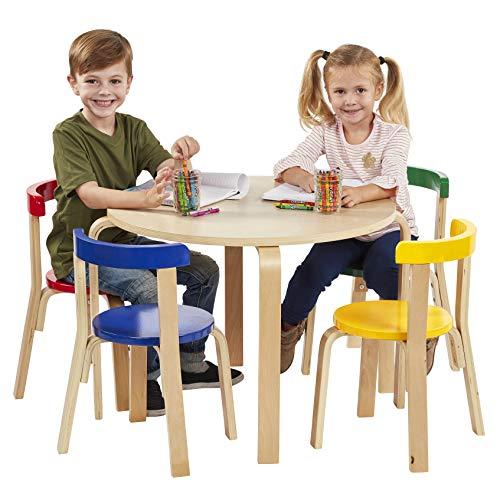 ECR4Kids Bentwood Curved Back Chair and Table Furniture Set, Premium Kids Table and Chairs Set for Homes, Daycares and Classrooms, Assorted ()