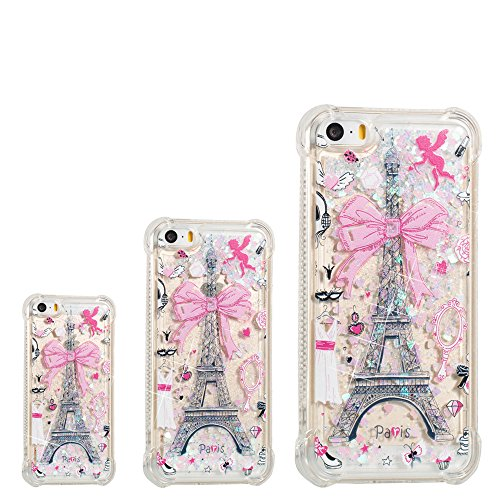 (iPhone 5S Case,iPhone SE Cases,RIVRE [Air Cushion Corner] Glitter Liquid Case Bling Sparkle Flowing Floating Quicksand Rubber Clear Soft TPU Bumper Cover for iPhone SE/5/5s [Paris Tower])